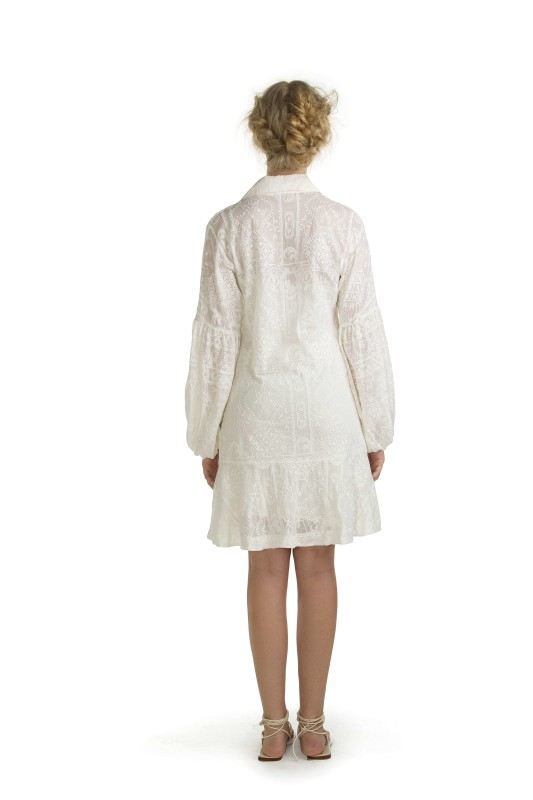 AVALON WHITE EMBROIDERY SHORT DRESS