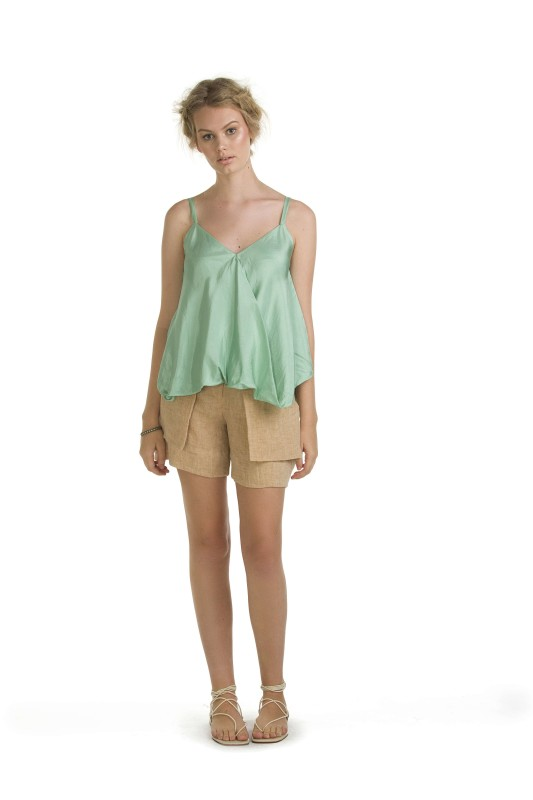 LUCILLE SEA FOAM TOP & BETH WHEAT SHORT