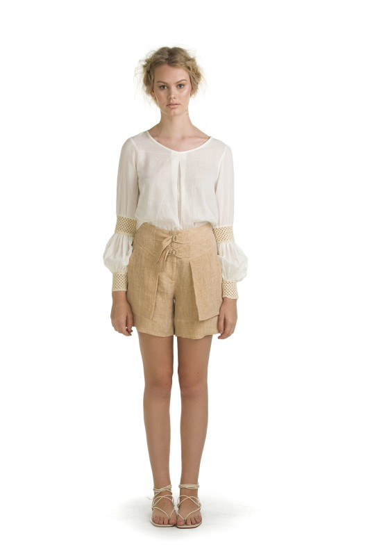 LANI CREAM TOP & BETH WHEAT SHORT
