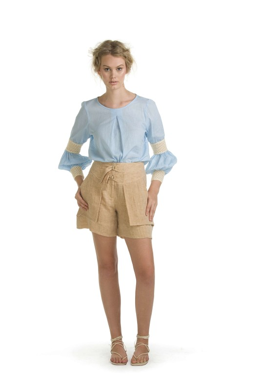 LANI SKY BLUE TOP & BETH WHEAT SHORT