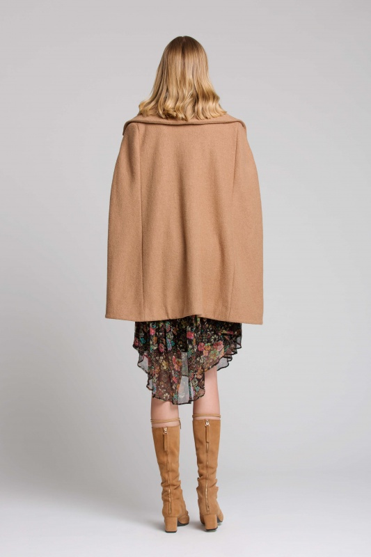 Lisa Brown Sabine Noir Jarden with Brodie Camel Cape and Long Tan Boots