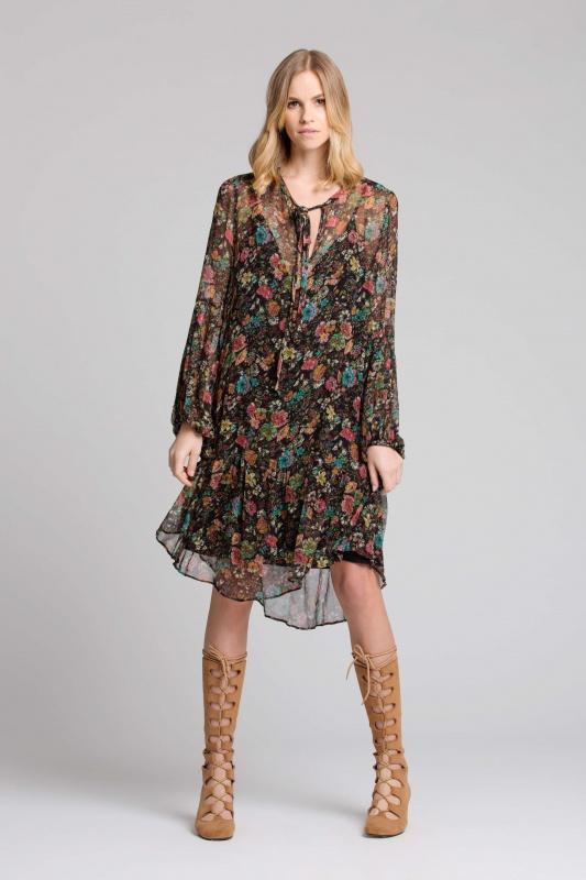 Lisa Brown Sabine Noir Jarden with Long Tan Boots