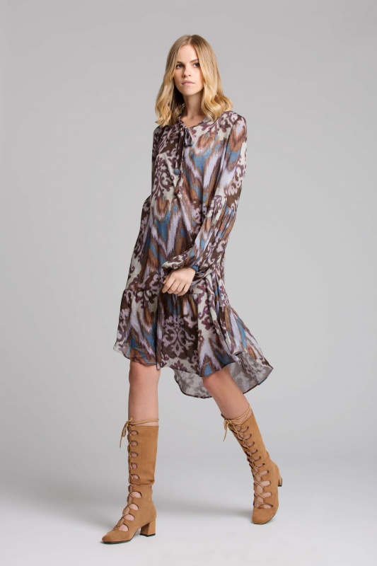 Lisa Brown Sabine Purple Java Short Dress with Long Tan Boots