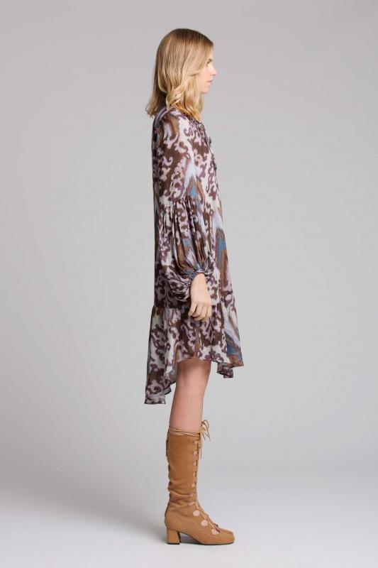 Lisa Brown Sabine Purple Java Short Dress with Long Tan Boots