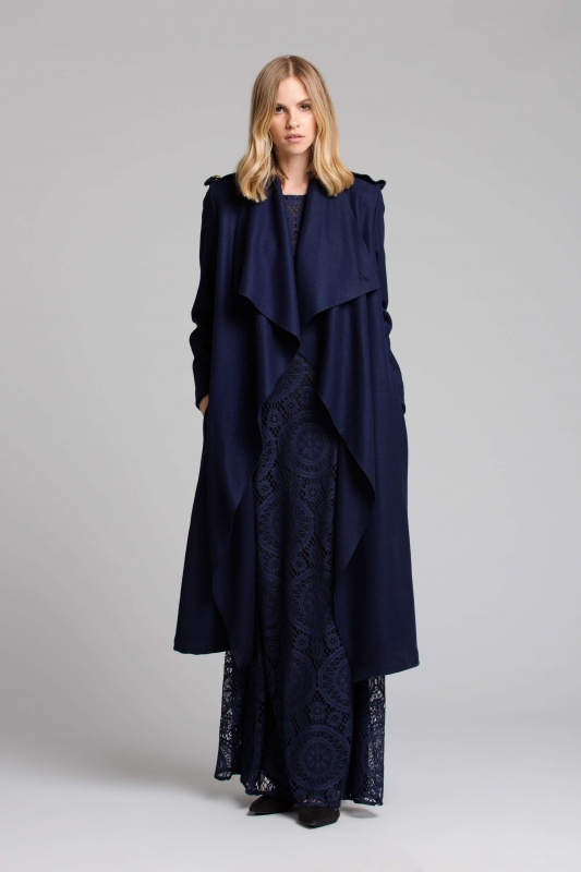 Lisa Brown Vienna Navy Dress with Anchor Navy Coat